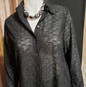 Avenue Stretch |Black Long Sleeve Blouse | 18/20